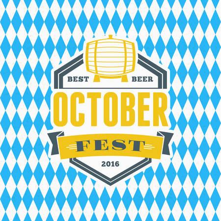 Beer festival Octoberfest celebration. Retro style badge, label, emblem on blue and white rhombus background. Vector illustration. Beer label template Illustration