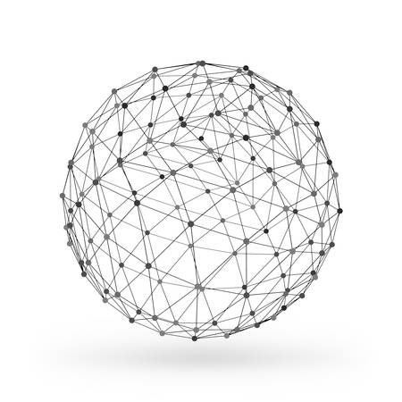 shade: Wireframe polygonal geometric element. Sphere with connected lines and dots. Vector Illustration on white background with shade
