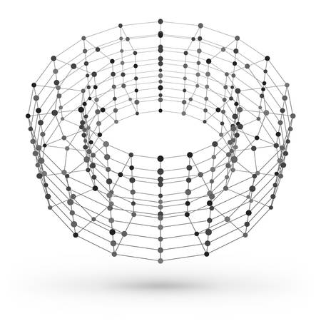 Wireframe polygonal geometric element. Torus with connected lines and dots. Vector Illustration on white background with shade Ilustração