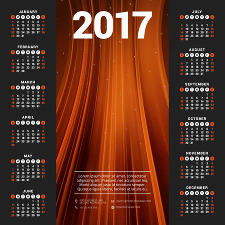 yearly: Calendar for 2017 year. Vector design stationery template. Week starts Sunday. Flat style color vector illustration. Yearly calendar template