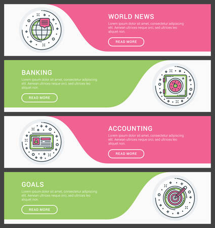 world news: Set of flat line business website banner templates. Vector illustration. Modern thin line icons in circle. World News, Banking, Accounting, Goals Illustration