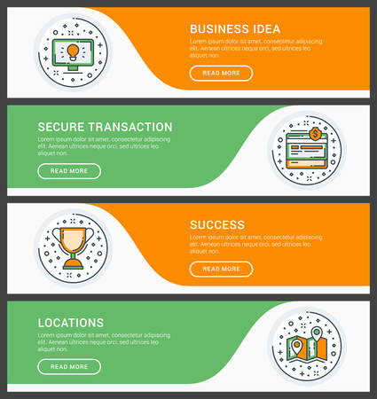 locations: Set of flat line business website banner templates. Vector illustration. Modern thin line icons in circle. Business Ideas, Secure Transation, Success, Locations