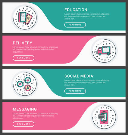 messaging: Set of flat line business website banner templates. Vector illustration. Modern thin line icons in circle. Education, Delivery, Social Media, Messaging