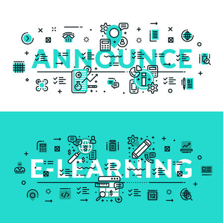 to announce: Announce and E-Learning heading, title, web banner. Horizontal colored in white and turquoise flat vector illustration.