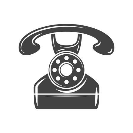 vintage telephone: Retro rotary vintage telephone. Black icon, logo element, flat vector illustration isolated on white background.