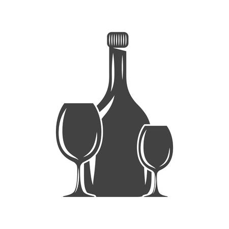 wineglass: Bottle and two glasses. Black icon, logo element, flat vector illustration isolated on white background.