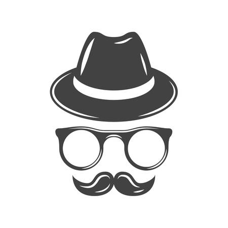 snobby: Hipster retro hat, eyeglasses and moustache. Black icon, logo element, flat vector illustration isolated on white background.
