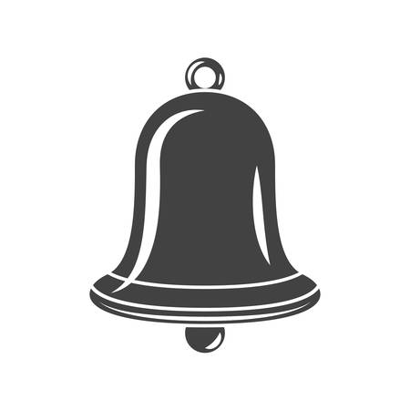 Hand Bell Black icon, logo element, flat vector illustration isolated on white background.