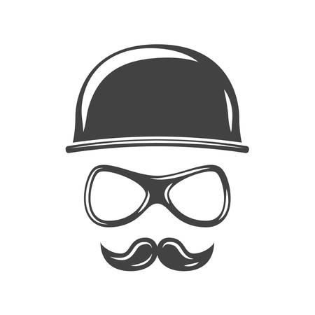 Hipster round retro hat, eyeglasses and moustache. Black icon, logo element, flat vector illustration isolated on white background.