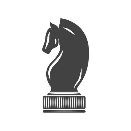 Schaken Knight Black pictogram, logo element, flat vector illustratie geïsoleerd op een witte achtergrond.