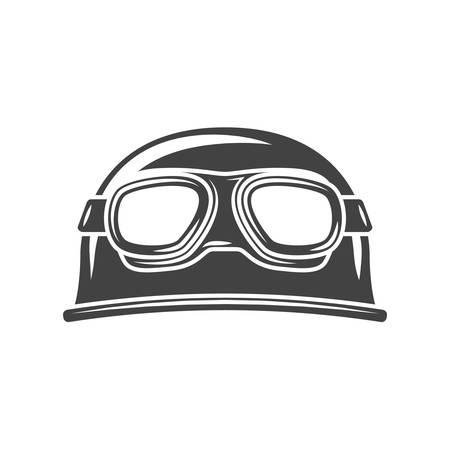 eyewear: Helmet with eyewear Black icon, logo element, flat vector illustration isolated on white background.