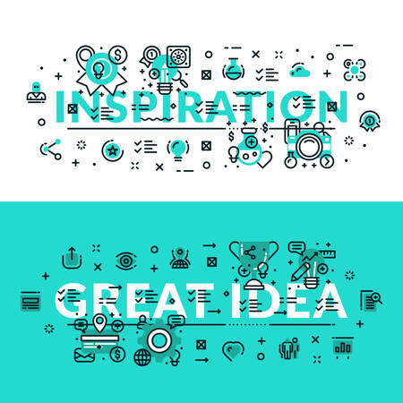 Inspiration and Great Idea heading, title, web banner. Horizontal colored in white and turquoise flat vector illustration. Illustration