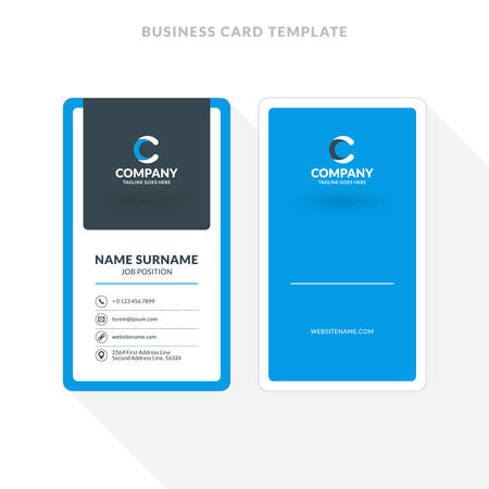 Vertical Double Sided Business Card Template Blue And Black