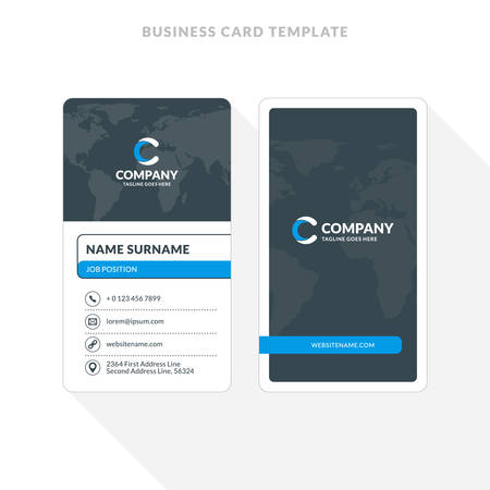 Vertical double sided business card template blue and black vector vertical double sided business card template blue and black colors flat design vector illustration stationery design wajeb Gallery