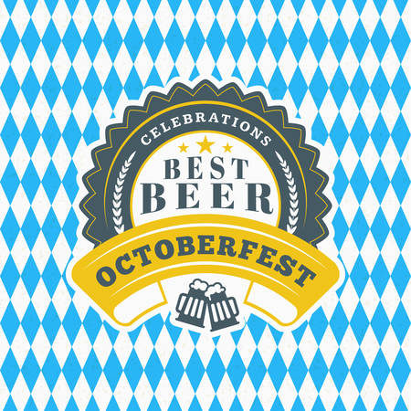 Beer festival Octoberfest celebration. Retro style badge, label, emblem on blue and white rhombus background. Vector illustration. Beer label template Illustration