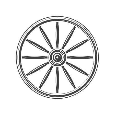 Oude westelijke wagenwiel. Zwart pictogram, element, vector illustratie op een witte achtergrond