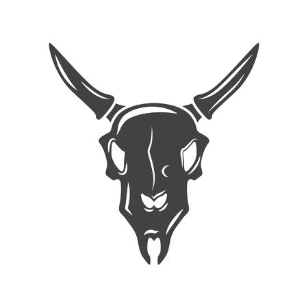 scull: Bulls scull. Black icon,  element, vector illustration isolated on white background