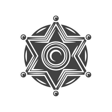 ranger: Sheriff badge. Black icon,  element, vector illustration isolated on white background