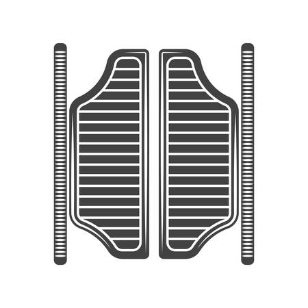 old west: Retro old west saloon doors. Black icon,  element, vector illustration isolated on white background