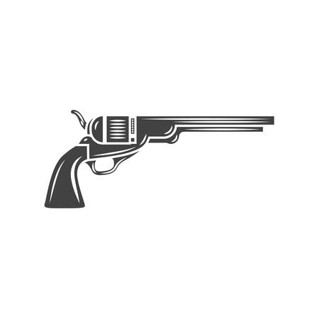 old west: Old west gun. Black silhouette. Black icon,  element, vector illustration isolated on white background