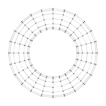 torus: Wireframe polygonal geometric element. Torus with connected lines and dots. Vector Illustration on white background with shade Illustration