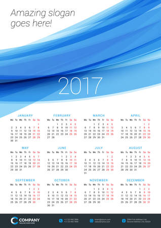Wall Calendar Poster for 2017 Year. Vector Design Print Template. Stationery Design. Vector Calendar with Abstract Background Illustration