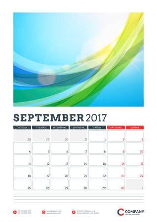 Wall Calendar Planner Template for 2017 Year. September. Vector Design Template with Abstract Background. Week starts Monday. Portrait Orientation