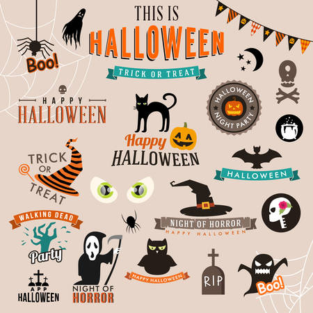 Set of Happy Halloween symbols and decoration elements. Vector illustration
