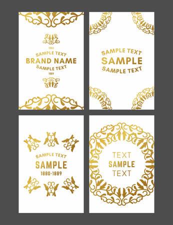 Set of Floral Decorative Logo Frame, Border and Monogram, Golden on White Background Vector Illustration.