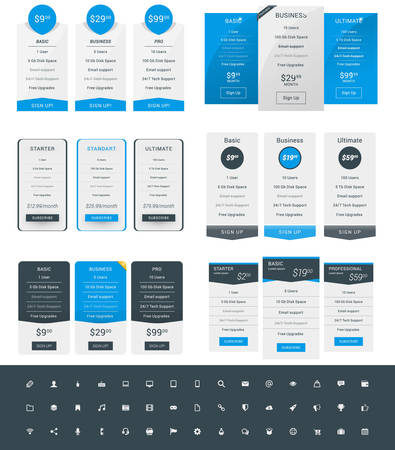 featured: Set of Pricing Table Design Templates for Websites and Applications. Vector Pricing Plans with Icon Set. Blue and Black Colors. Flat Style Vector Illustration