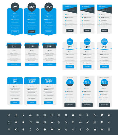tariff: Set of Pricing Table Design Templates for Websites and Applications. Vector Pricing Plans with Icon Set. Blue and Black Colors. Flat Style Vector Illustration