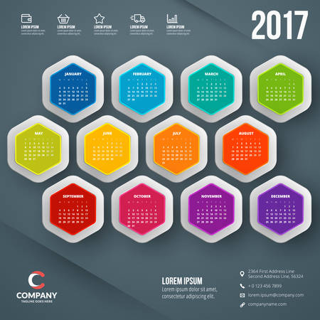 Calendar for 2017 year. Vector design stationery template. Week starts Monday. Vector illustration