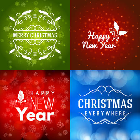 Set of Merry Christmas and Happy New Year Decorative Badges for Greetings Cards or Invitations. Vector Illustration. Abstract colorful background with snowflakes and lights Illustration