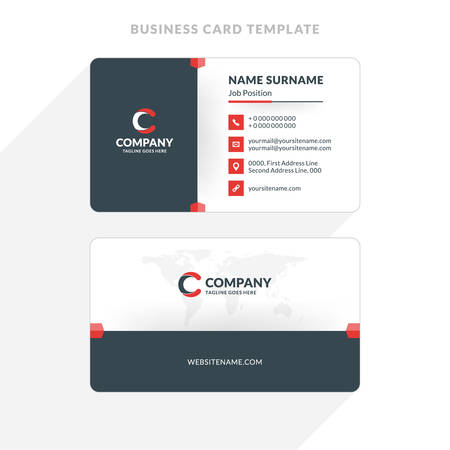 Creative and clean double sided business card template red and creative and clean double sided business card template red and black colors flat accmission Choice Image