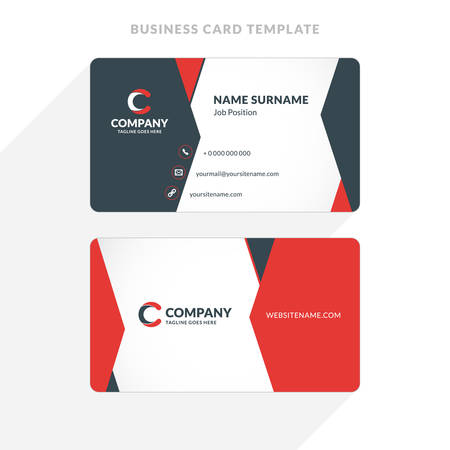 Creative and Clean Double-sided Business Card Template. Red and Black Colors. Flat Design Illustration. Stationery Design