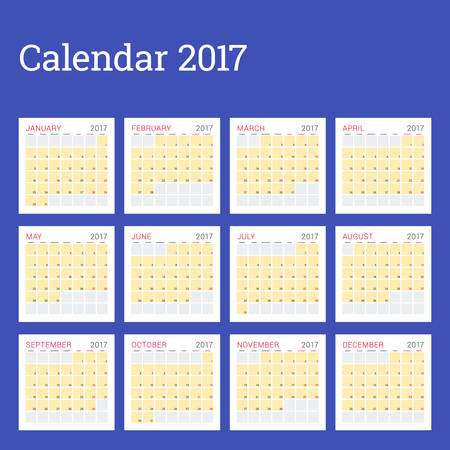 meses del año: Calendar Planner Template for 2017 Year. Week Starts Monday. Set of 12 Months. Stationery Design. Calendar Template Vectores