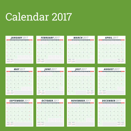 week planner: Calendar Planner Template for 2017 Year. Week Starts Sunday. Set of 12 Months. Stationery Design. Calendar Template