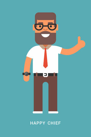 improving: Expressions and emotions.  Happy chief. Smiling man with a thumb up in white shirt and tie. Flat colored illustration on blue background