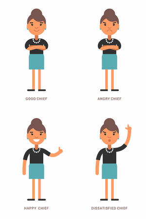 dominant color: Expressions and emotions. A set of four flat  illustrations with female chief.  Good, angry, dissatisfied, happy chief. Flat colored vector illustrations isolated on white background