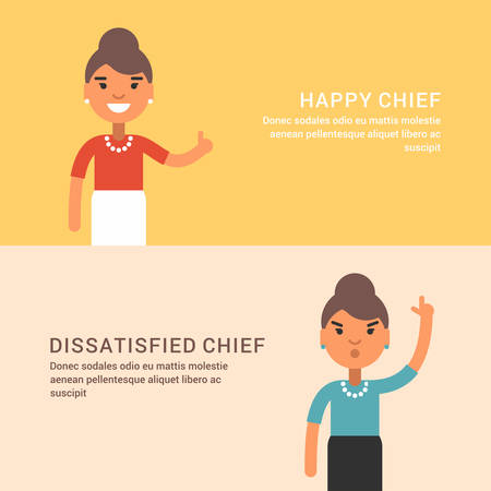 dissatisfied: Expressions and emotions. Two horizontal web banners with female chief.  Happy and dissatisfied woman chief. Flat colored illustration Illustration
