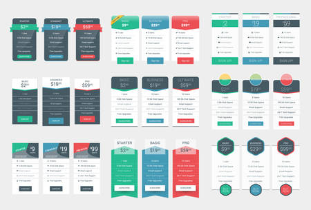featured: Collection of Coloful Pricing Table Design Templates for Websites and Applications. Illustration