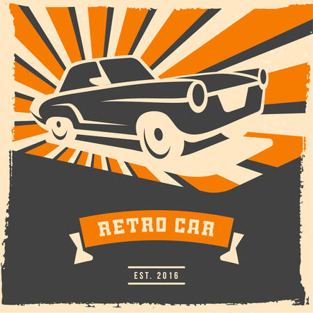 strip club: Retro car flyer or poster design with grunge frame and rays. Vector illustration