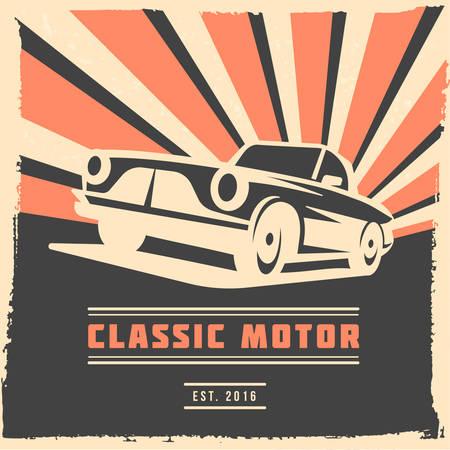 Projeto de panfleto ou cartaz de carro retrô com moldura de grunge e raios. Ilustração vetorial Ilustración de vector