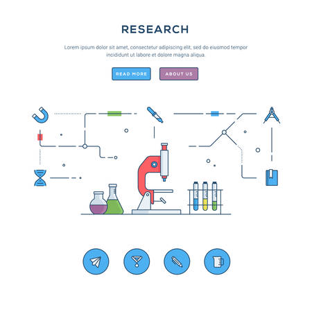 reading app: Research. Flat line business website banner template. Modern thin line icons. Illustration concept for web banners and promotional materials. Illustration
