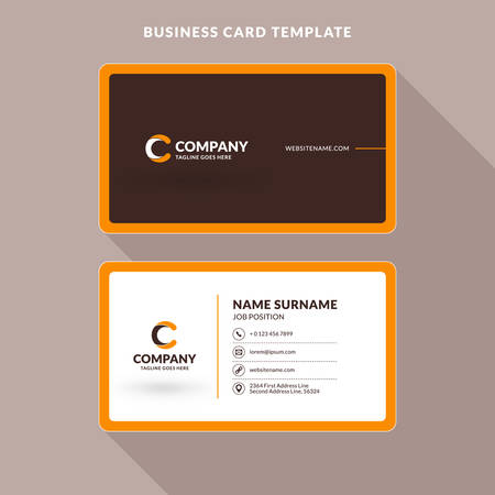 Creative and clean double sided business card template orange creative and clean double sided business card template orange and brown colors flat accmission Image collections