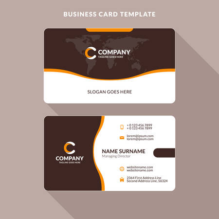 Creative and clean double sided business card template orange creative and clean double sided business card template orange and brown colors flat flashek Images