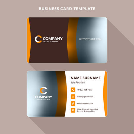 surname: Creative and Clean Double-sided Business Card Template. Orange and Brown Colors. Flat Design Vector Illustration. Stationery Design Illustration