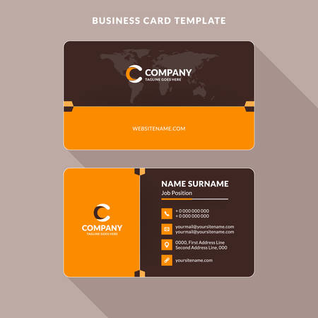 Creative And Clean Double Sided Business Card Template Orange