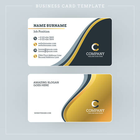gold colour: Double-sided Business Card Template with Abstract Golden and Black Waves Background. Vector Illustration. Stationery Design
