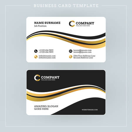 surname: Double-sided Business Card Template with Abstract Golden and Black Waves Background. Vector Illustration. Stationery Design